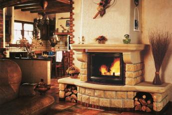 обоя интерьер, камины, кресло, дрова, камин
