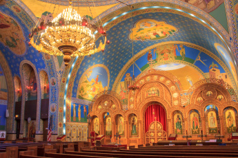 обоя интерьер, убранство,  роспись храма, Чикаго, украинская, католическая, парафия, религия, церковь, святых, владимира, и, ольги, сша, иллинойс