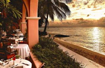 обоя интерьер, кафе,  рестораны,  отели, закат, ресторан, пляж, море