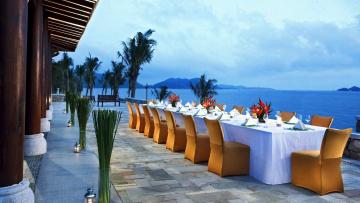 обоя интерьер, кафе,  рестораны,  отели, море, банкет, терраса, пейзаж