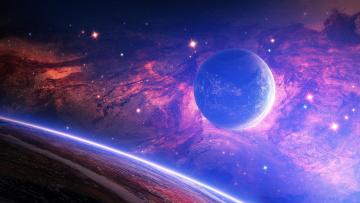 обоя космос, арт, вселенная, планеты, звёзды, созвездия