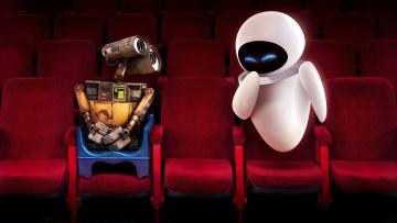 обоя мультфильмы, wall-e, кинотеатр, роботы, ева, валли, кресла