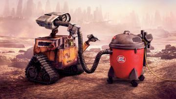 обоя мультфильмы, wall-e, пылесос, робот, шланг