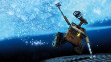 обоя мультфильмы, wall-e, решетка, валли, вода, робот