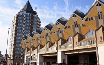 обоя города, - здания,  дома, роттердам, необычные, кубические, дома