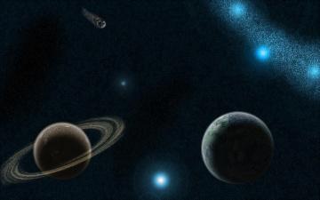 обоя космос, арт, созвездия, звёзды, планеты, вселенная