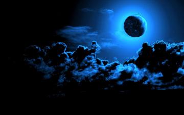 обоя космос, луна, тучи, небо