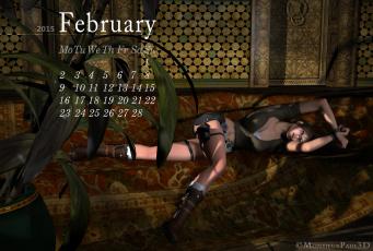 обоя календари, 3д-графика, девушка, фон, диван