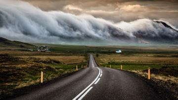 Картинка природа дороги исландия дорога небо тучи облака
