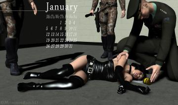 обоя календари, 3д-графика, девушка, лежит