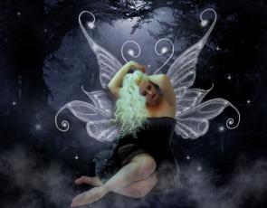 обоя фэнтези, фотоарт, фон, крылья, девушка