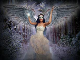 обоя фэнтези, ангелы, платье, крылья, девушка, фон, маска