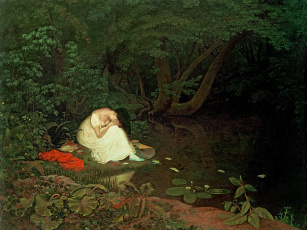 Картинка francis+danby+-+разочарование+в+любви рисованное живопись лес озеро берег плач девушка