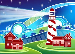 обоя векторная графика, другое , other, дома, маяк