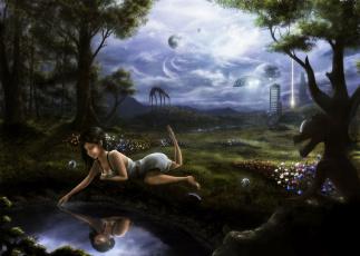 обоя фэнтези, красавицы и чудовища, иной, мир, девушка, монстр, лес, озеро