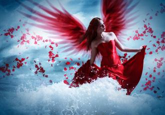 обоя фэнтези, фотоарт, фон, волна, девушка, крылья, платье