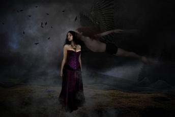 обоя фэнтези, фотоарт, фон, крылья, девушка, мужчина