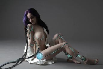 обоя фэнтези, роботы,  киборги,  механизмы, девушка, фон, провода