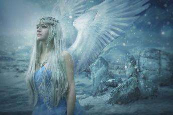 обоя фэнтези, ангелы, девушка, крылья, фон