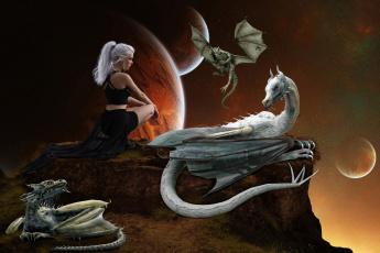 обоя фэнтези, красавицы и чудовища, девушка, планета, фон, драконы