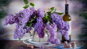 обоя цветы, сирень, букет, вино, бутылка