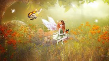 обоя фэнтези, эльфы, девочка, взгляд, фон, бабочка