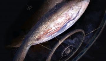 обоя фэнтези, космические корабли,  звездолеты,  станции, иной, мир, космос, станция, орбита, планета