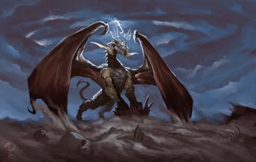 обоя фэнтези, драконы, дракон, тучи, кости, пустыня