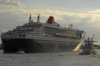 Картинка queen mary корабли разные вместе 2 лайнер буксир