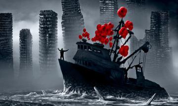 Картинка фэнтези корабли романтика апокалипсиса красные шарики арт руины корабль люди
