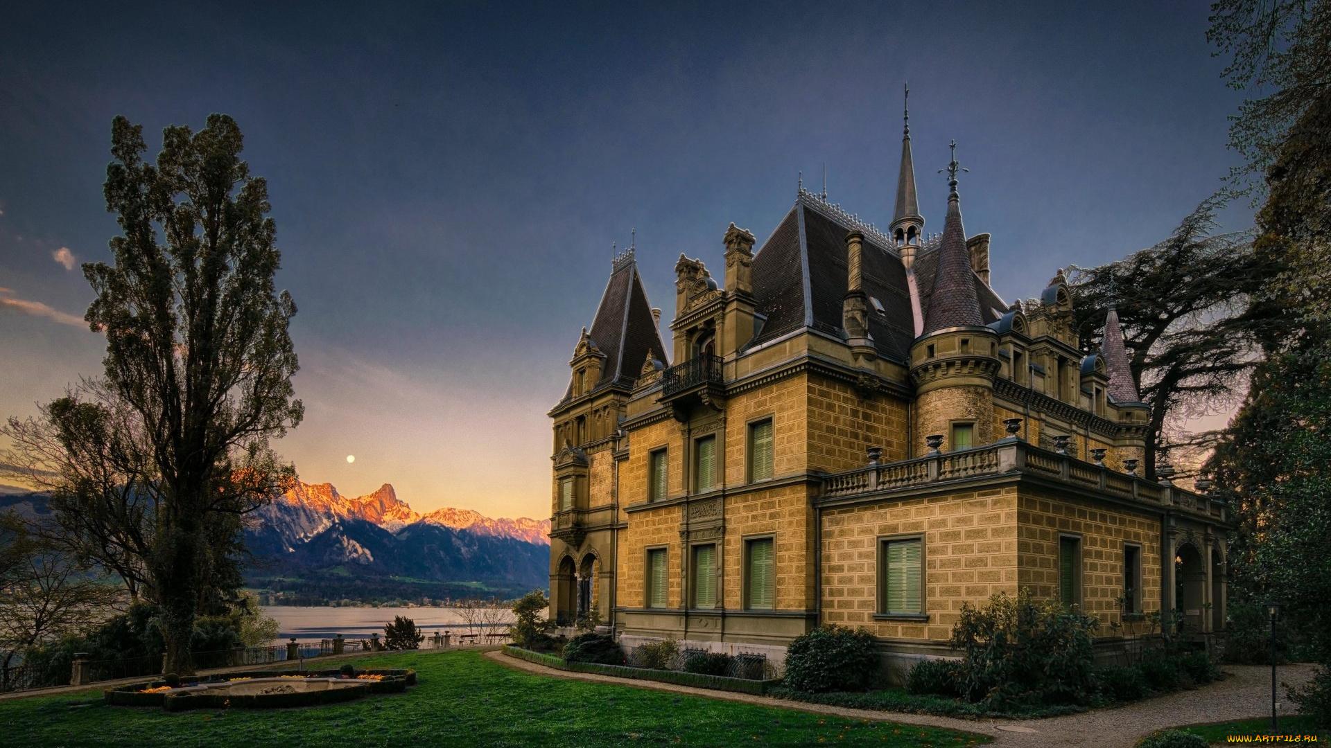Замок швейцария вечер  № 2569354 загрузить