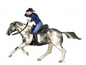 Картинка рисованное животные +лошади фон лошадь