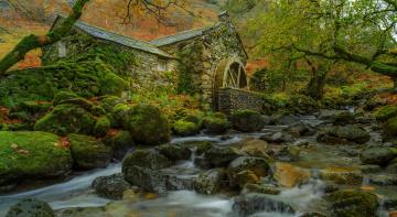 обоя разное, мельницы, листья, осень, водяная, мельница, деревья, ручей, камни, мох