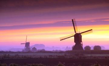 обоя разное, мельницы, голландия, нидерланды, мельница, поля, небо, заря