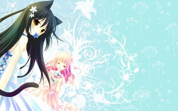 обоя аниме, животные,  существа, фон, взгляд, девушка
