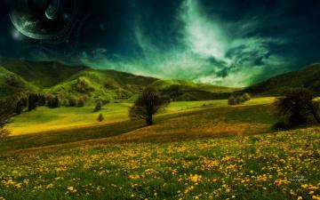 обоя разное, компьютерный дизайн, цветы, деревья, луга, холмы, планета, долина