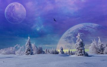 обоя разное, компьютерный дизайн, планеты, снег, деревья, зима, фантастика