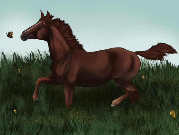Обои картинки фото рисованное, животные,  лошади, фон, лошадь