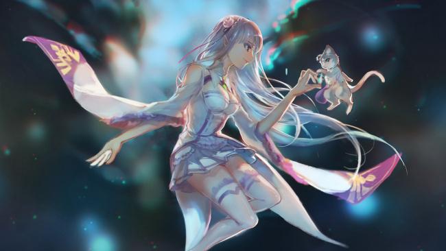 Обои картинки фото аниме, re,  zero kara hajimeru isekai seikatsu, эмилия