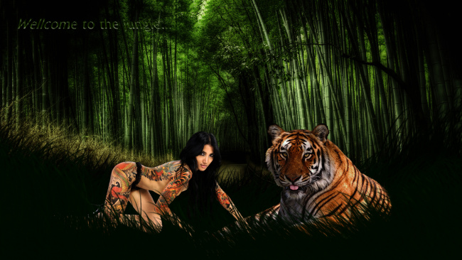 Обои картинки фото разное, компьютерный дизайн, тигр, фон, тату, взгляд, девушка