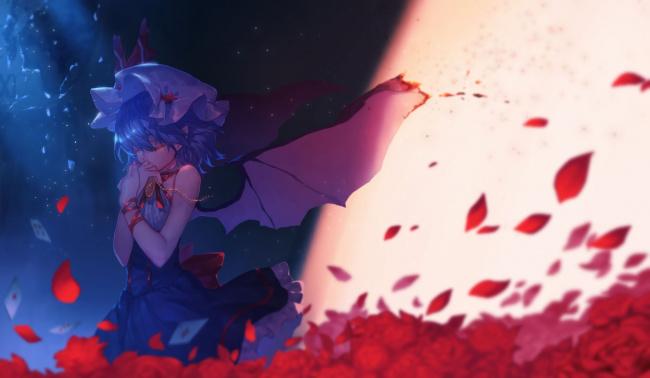 Обои картинки фото аниме, touhou, project, remilia, scarlet, черная, магия, заклятие, kiyomasa, ren