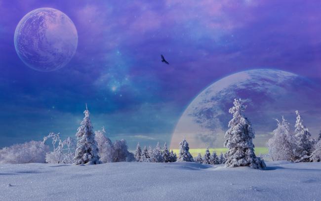 Обои картинки фото разное, компьютерный дизайн, планеты, снег, деревья, зима, фантастика