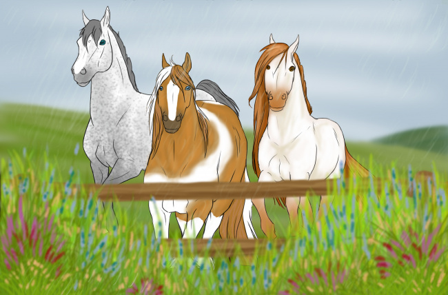 Обои картинки фото рисованное, животные,  лошади, лошадь, фон
