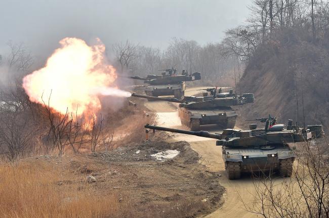Обои картинки фото танки, техника, военная техника, стрельбы, боевой, танк, основной, k2, black, panther, южная, корея