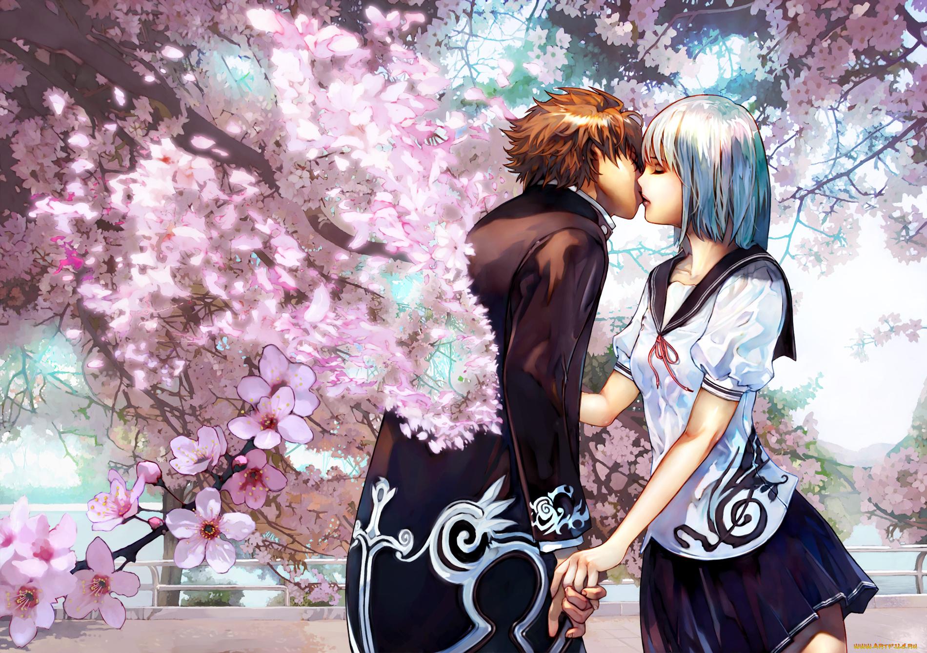 Открытка, картинки прикольные с аниме с поцелуями
