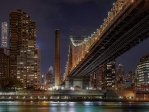 обоя queensboro bridge from queens, города, нью-йорк , сша, ночь, огни, мост