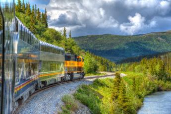 обоя техника, поезда, рельсы, паровоз