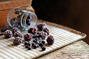 Картинка еда фрукты +ягоды банка ежевика ягоды