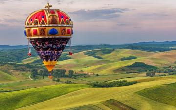 обоя авиация, воздушные шары, деревья, поля, вид, сверху