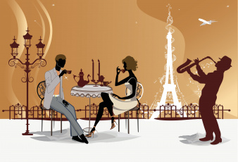 Картинка векторная+графика люди кафе париж эйфелева башня